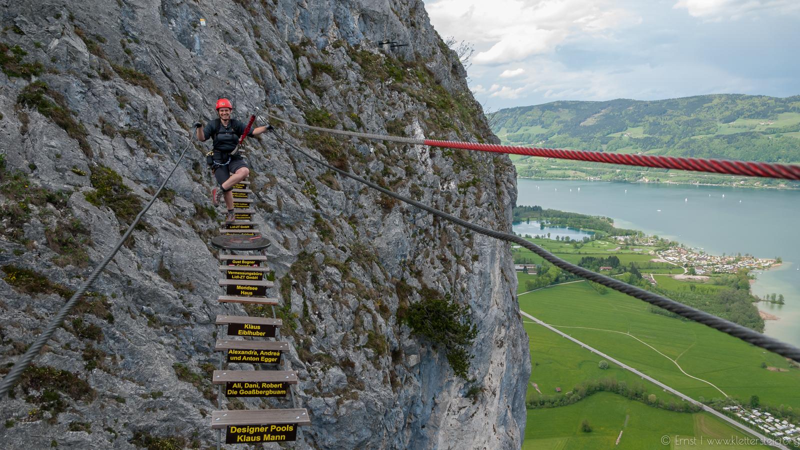 Klettersteig Mondsee : Drachenwand klettersteig bergsteigen